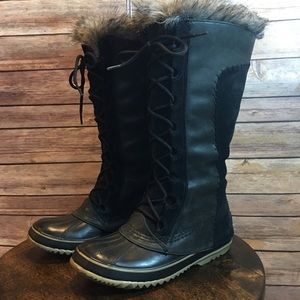 SOREL Cate the Great Winter Boots, Black/Gray, 8